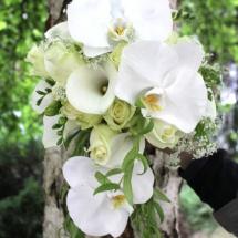 Bouquet de mariée moderne blanc vert callas orchidées - Reflets Fleurs mariage