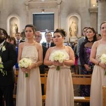 Mariage bouquet de mariée et bouquet de demoiselle d'honneur rose blanche - Reflets Fleurs