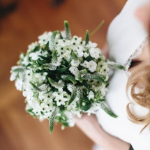 Bouquet mariée blanc vert champêtre ornithogalum Véronique - Reflets Fleurs mariage
