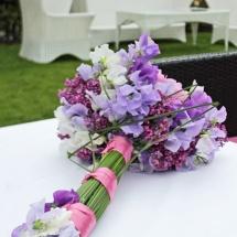 Bouquet de mariée moderne champêtre rose mauve lila pivoines - Reflets Fleurs mariage
