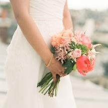 Bouquet mariée pivoine corail champêtre - Reflets Fleurs