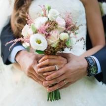Bouquet mariée Reflets Fleurs champêtre blanc rose