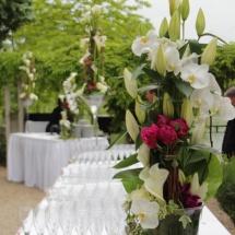 Buffet cocktail orchidée pivoines mariage - Reflets Fleurs