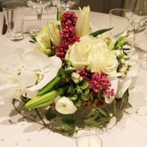 Centre table blanc rose mariage - Reflets Fleurs
