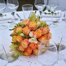Centre table boule rose - Reflets Fleurs mariage