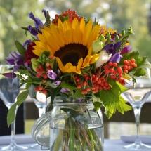 Centre table champêtre tournesol - Reflets Fleurs mariage
