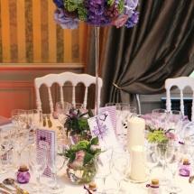 Centre table haut camaieu mauve - Reflets Fleurs mariage