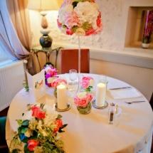 Centre table haut camaieu rose mariage - Reflets Fleurs