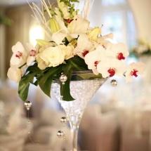 Centre de table haut coupe martini blanc orchidée mariage - Reflets Fleurs