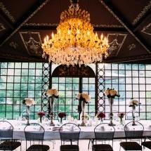 Centre de table haut ligne fleurs - Reflets Fleurs mariage