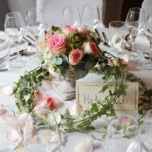 Centre de table medicis pierre rose esperance mariage - Reflets Fleurs
