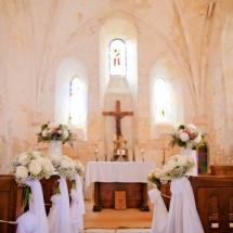Cérémonie bouquet rose blanche - Reflets Fleurs mariage