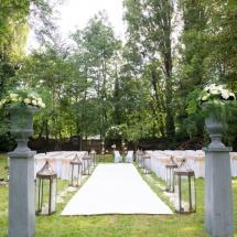 Cérémonie coupe Medicis blanc vert - Reflets Fleurs mariage
