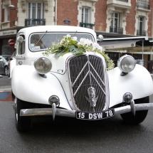 Décoration voiture blanc rose - Reflets Fleurs mariage