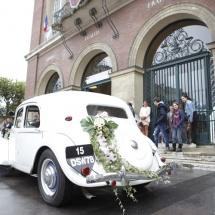 Décoration voiture blanc rose et vert - Reflets Fleurs mariage