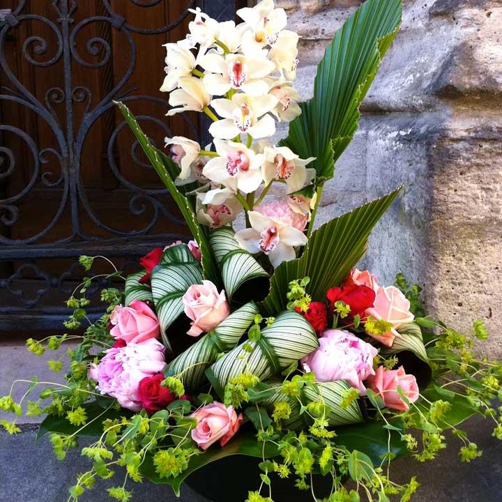 Reflets des Pensées, composition de deuil rose pâle, livraison de fleurs dans la journée, reflets fleurs