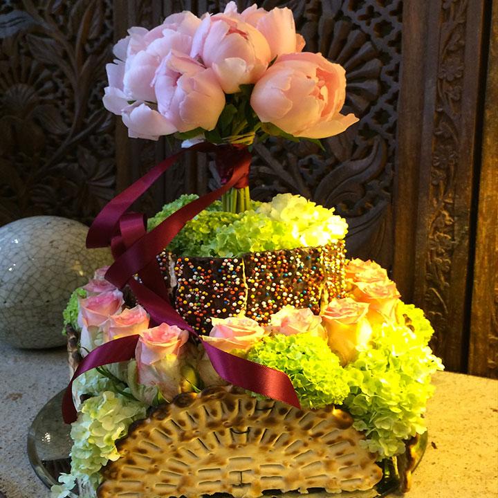 le Matzot en étage création originale signée reflets fleurs livraison dans  la journée