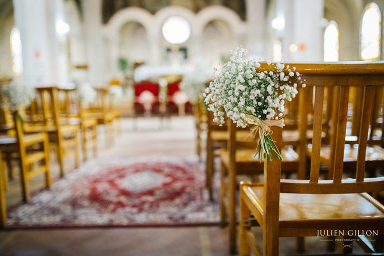 un mariage romantique, bouquet d'église de gypsophile