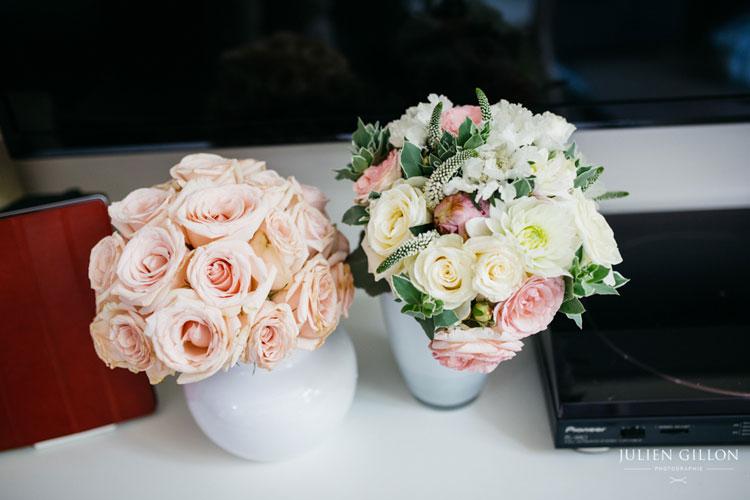 un mariage romantique, les bouquets de mariées église et mairie